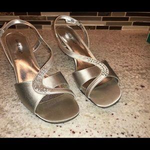 David Tate Silver Dress Sandals 9N